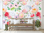 Light Watercolor Simple Flowers Mural