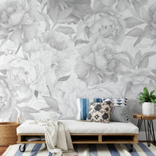 Load image into Gallery viewer, Soft Gray Peonies Mural