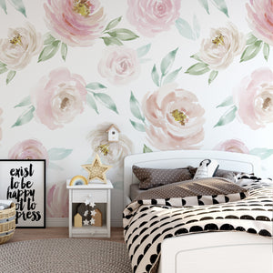 Watercolor Rose Mural