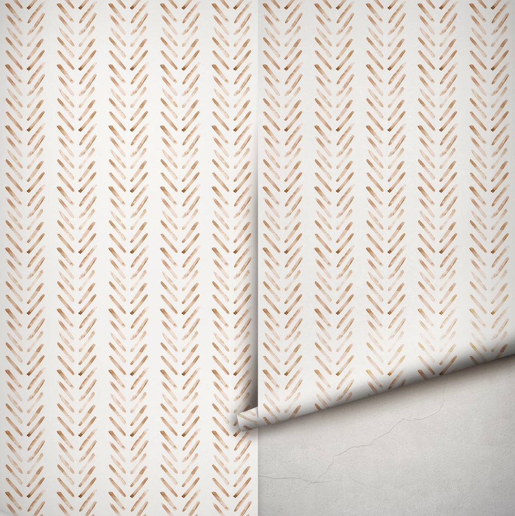 Boho Herringbone Terracotta Wallpaper