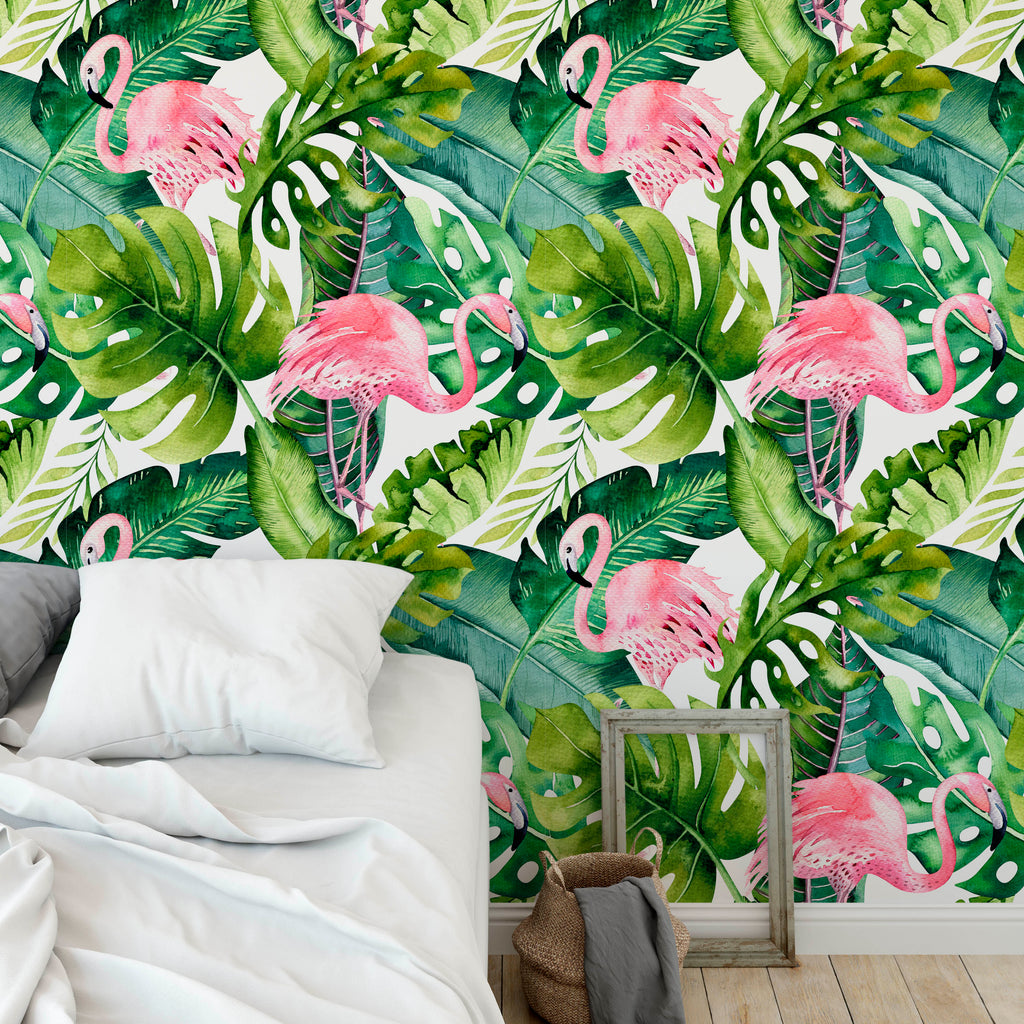 Tropical Jungle with Flamingos Wallpaper
