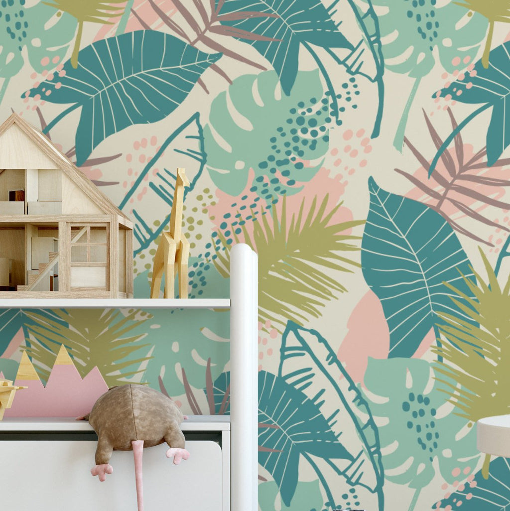 Modern Tropical Summer - Removable Wallpaper - Children Nursery Baby Girl Boy Kids - Self Adhesive Wallpaper - Peel and Stick K022