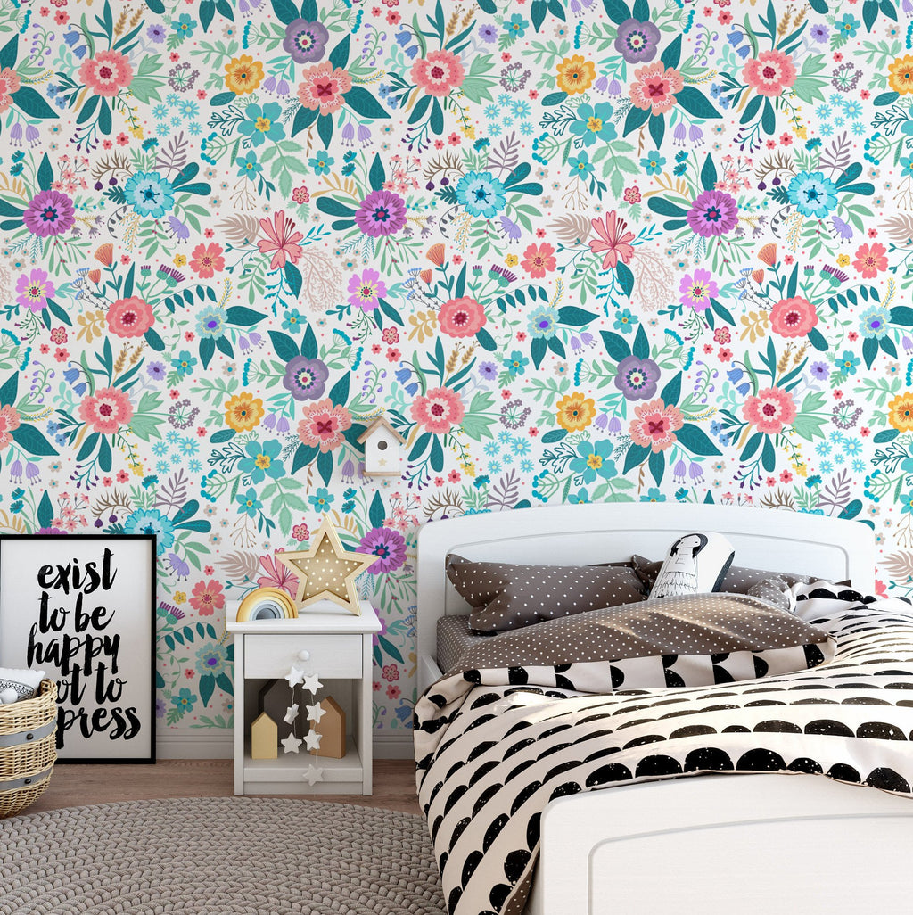 Wildflowers Forest Garden Removable Wallpaper Self Adhesive Wallpaper Peel and Stick Wallpaper K040