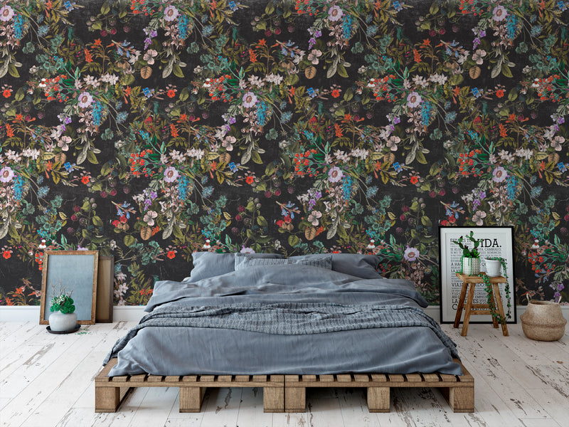 Vintage Botanical Dark Gray Floral Distressed Peel and Stick Removable Self Adhesive Wallpaper A049