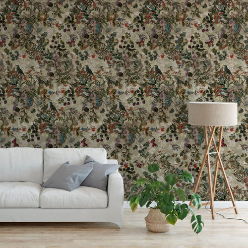 Vintage Beige Botanical Wildflowers Floral Removable Self Adhesive Peel and Stick Wallpaper A050
