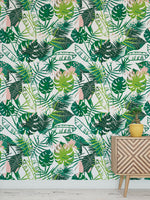 Tropical Leaves Summer Bohemian Jungle Mural Removable Self Adhesive Peel and Stick Wallpaper A006