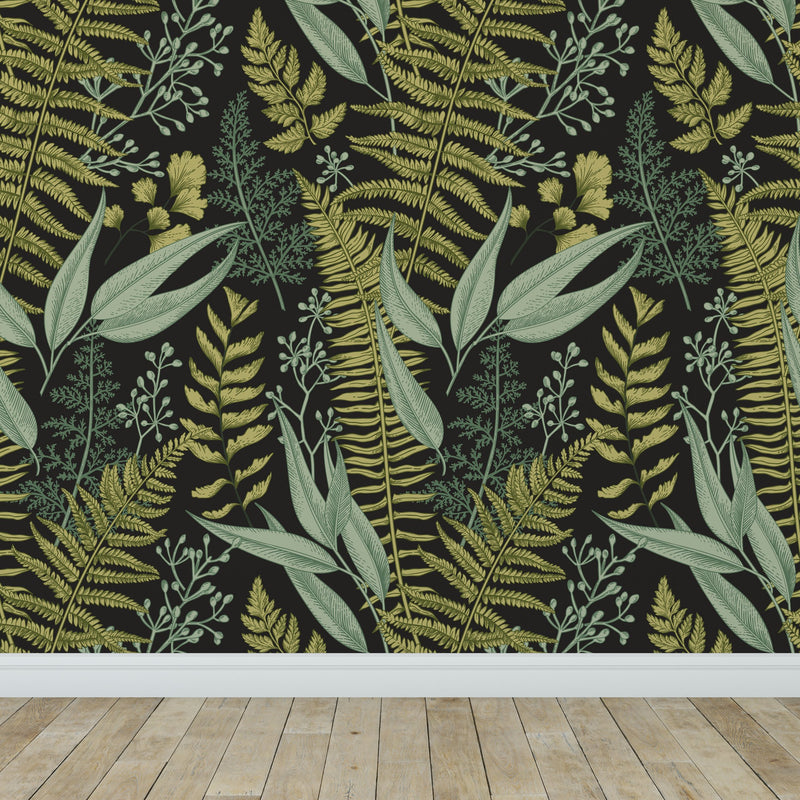 Natural Botanical Foliage with Ferns and Leaves Wallpaper Self Adhesive Peel and Stick Wallpaper A083