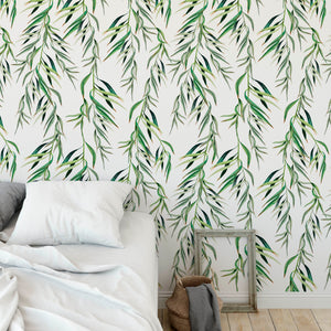 Eucalyptus Foliage Tropical Light Watercolor Leaves Removable Self Adhesive Wallpaper, Peel and Stick Wallpaper A085
