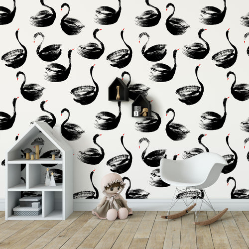Elegant Ink Brush Black Swans Self Adhesive Removable Wallpaper Peel and Stick Wallpaper K077