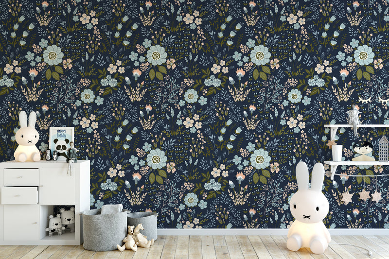 Dark Wildflowers Romantic Wallpaper Self Adhesive Removable Peel and Stick K028