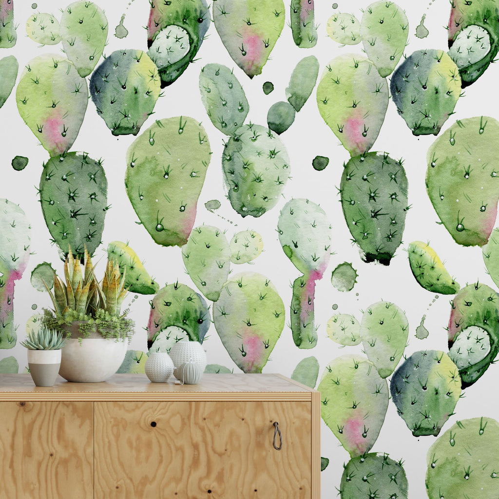 Light Green Watercolor Cactus Removable Self Adhesive Wallpaper, Peel and Stick Wallpaper A073