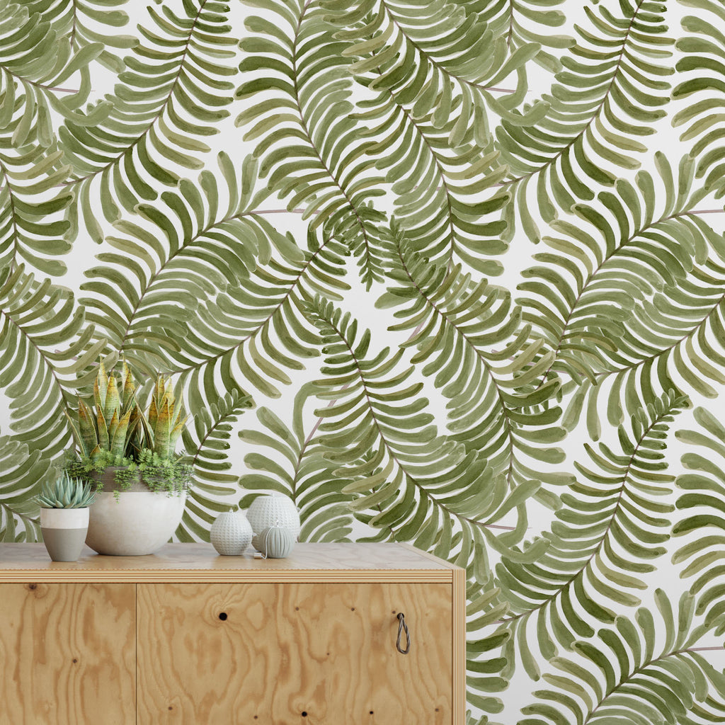 Light Watercolor Fern Leaves Removable Self Adhesive Wallpaper, Peel and Stick Wallpaper A080