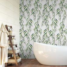 Load image into Gallery viewer, Eucalyptus Foliage Tropical Light Watercolor Leaves Removable Self Adhesive Wallpaper, Peel and Stick Wallpaper A085