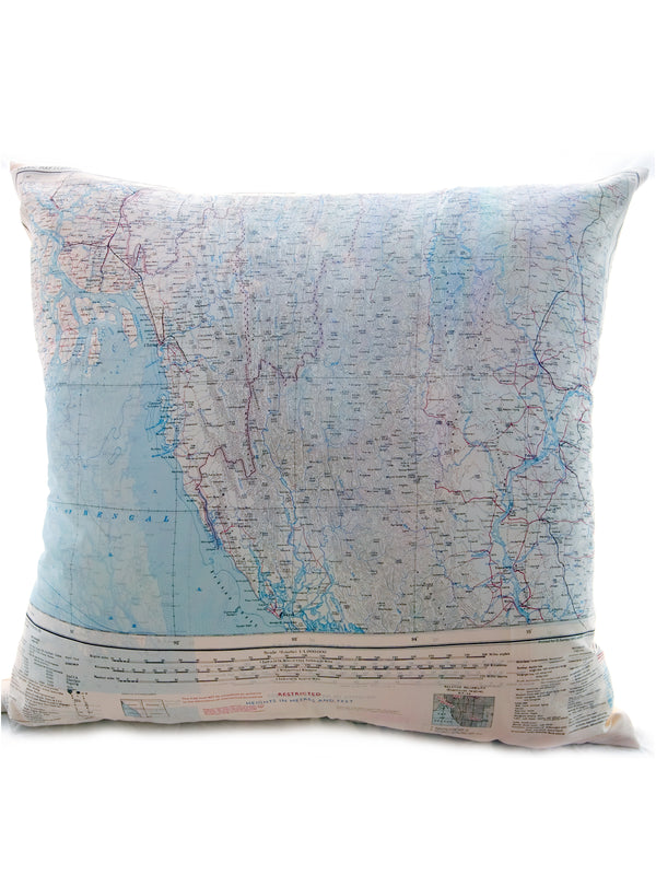 Vintage Map Cushion - Arakan