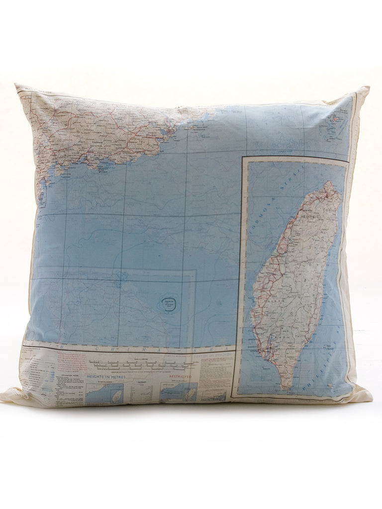 Vintage Map Cushion - Hong Kong