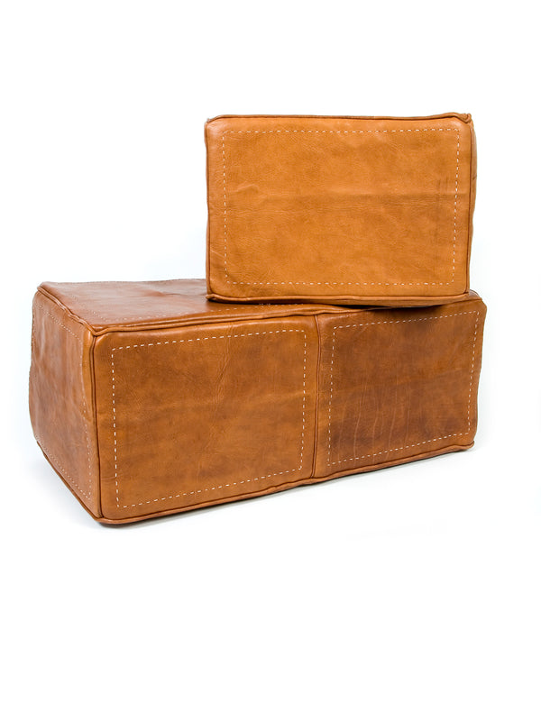 Heavy Leather Square Ottoman - Leather Only (No Insert)
