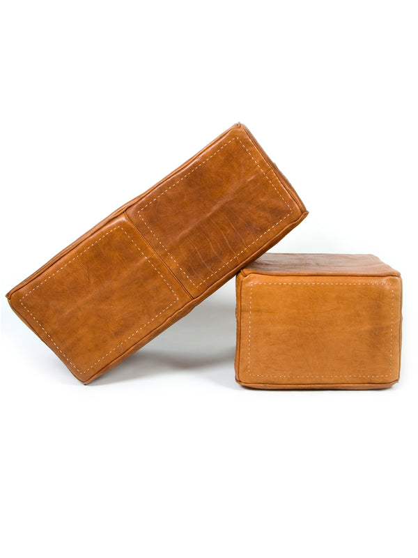 Heavy Leather Rectangular Ottoman - Leather only