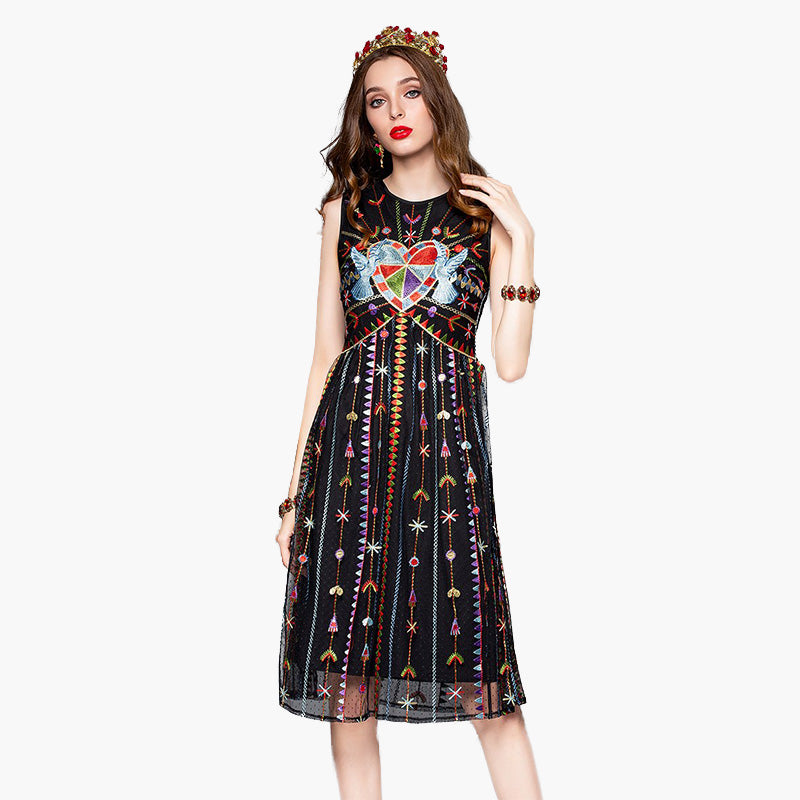 Hearts Embroidery, Long Dress, Paradise drive, Street Paradise online shop - free worldwide shipping