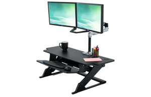 "iMovR ZipLift+ 42"" HD Standing Desk Converter with Mat, Black"