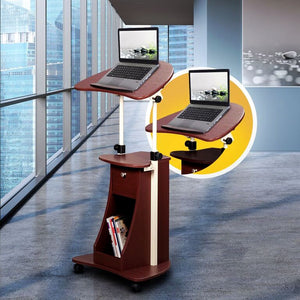 Techni Mobili Sit-to-Stand Rolling Adjustable Laptop Cart With Storage - AlzaDesk