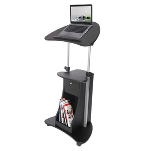 Techni Mobili Sit-to-Stand Rolling Adjustable Laptop Cart With Storage