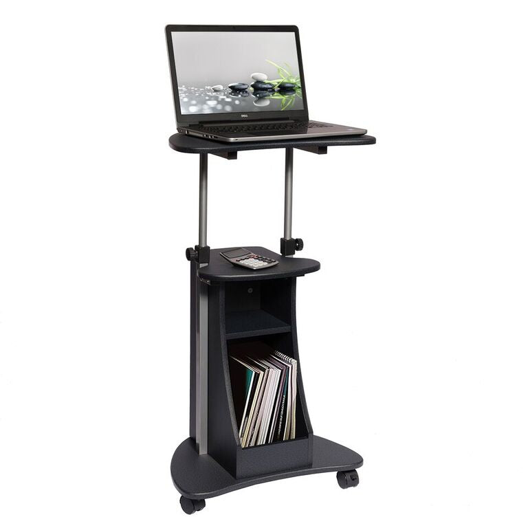 Techni Mobili Sit-to-Stand Rolling Adjustable Height Laptop Cart With Storage - AlzaDesk