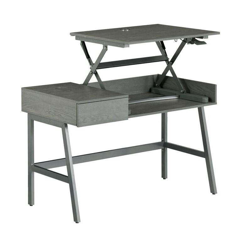 Techni Mobili Pneumatic Height Adjustable Standing Desk, Grey