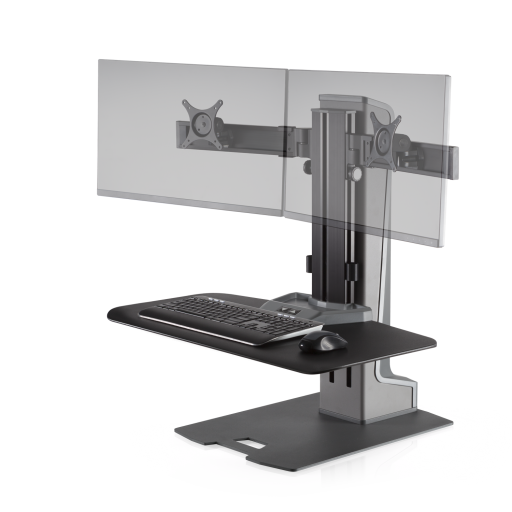 Innovative Winston-E Sit-Stand Workstation Dual Monitor Mount - Compact Work Surface - AlzaDesk