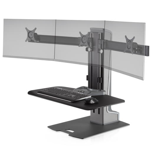 Innovative Winston-E Sit-Stand Workstation Triple Monitor Mount - Compact Work Surface - AlzaDesk