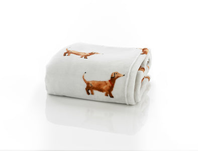 Daschund Dog Printed Flannel Throw