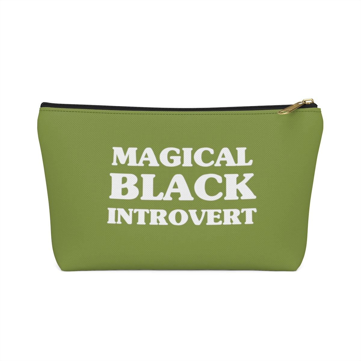 Magical Black Introvert Olive Green Accessory Pouch w T-bottom