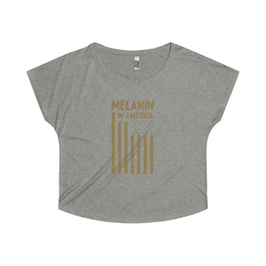 Melanin in America Women's Off the Shoulder Tri-Blend Dolman