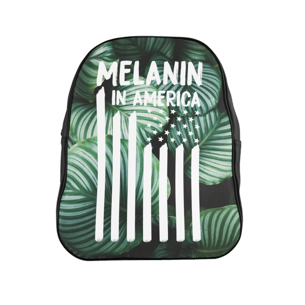 Tropical Melanin in America Flag School Backpack