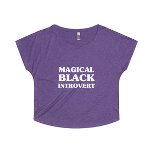 Magical Black Introvert Women's Off the Shoulder Tri-Blend Dolman