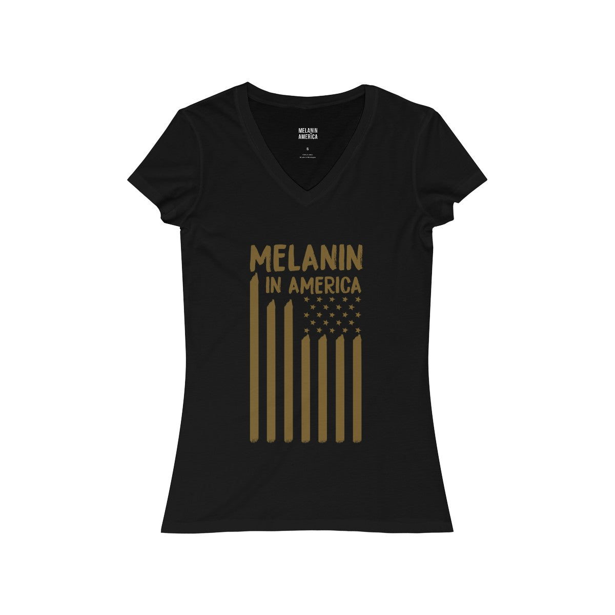Melanin in America Women's Jersey Short Sleeve V-Neck Tee