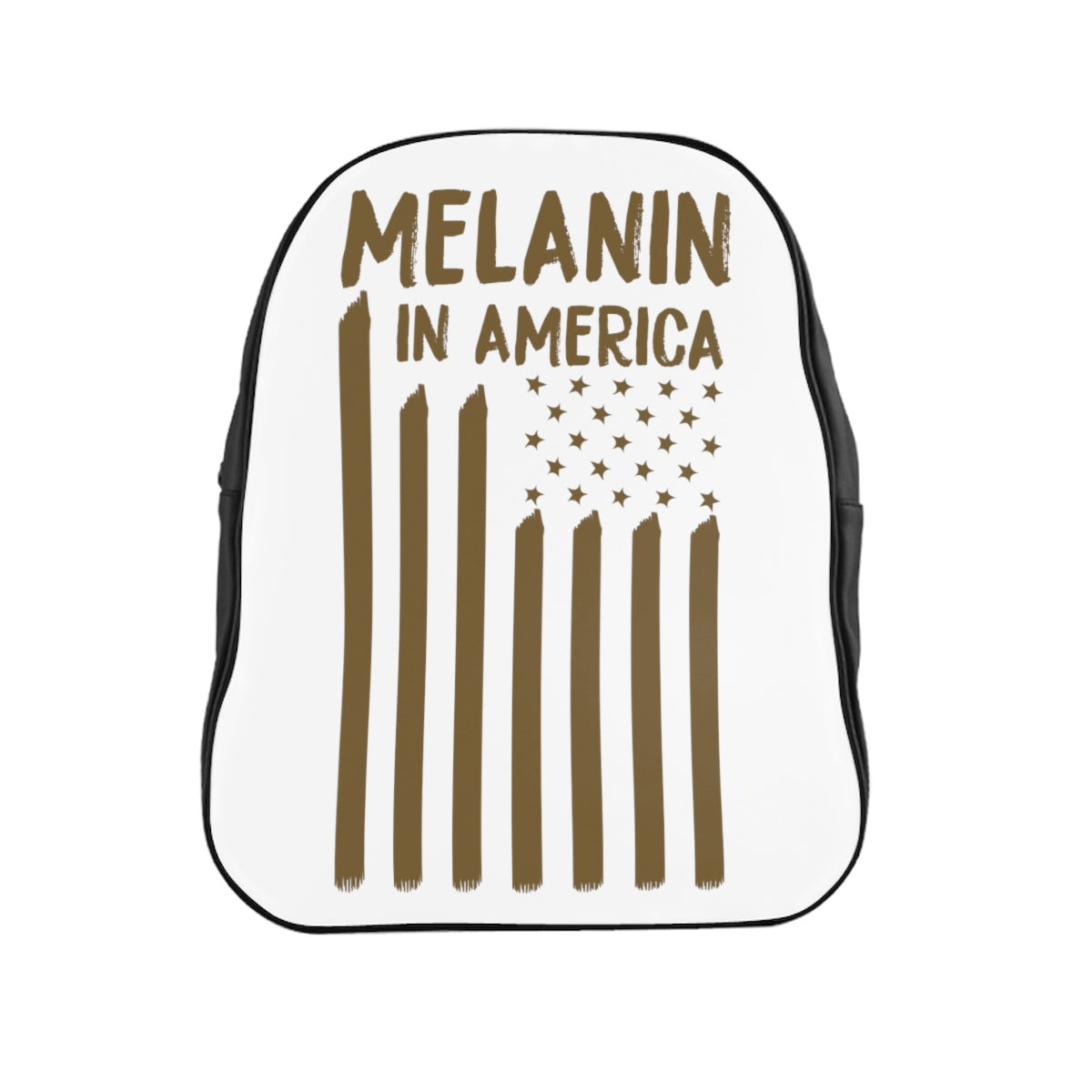 Melanin in America Gold Swag School Backpack