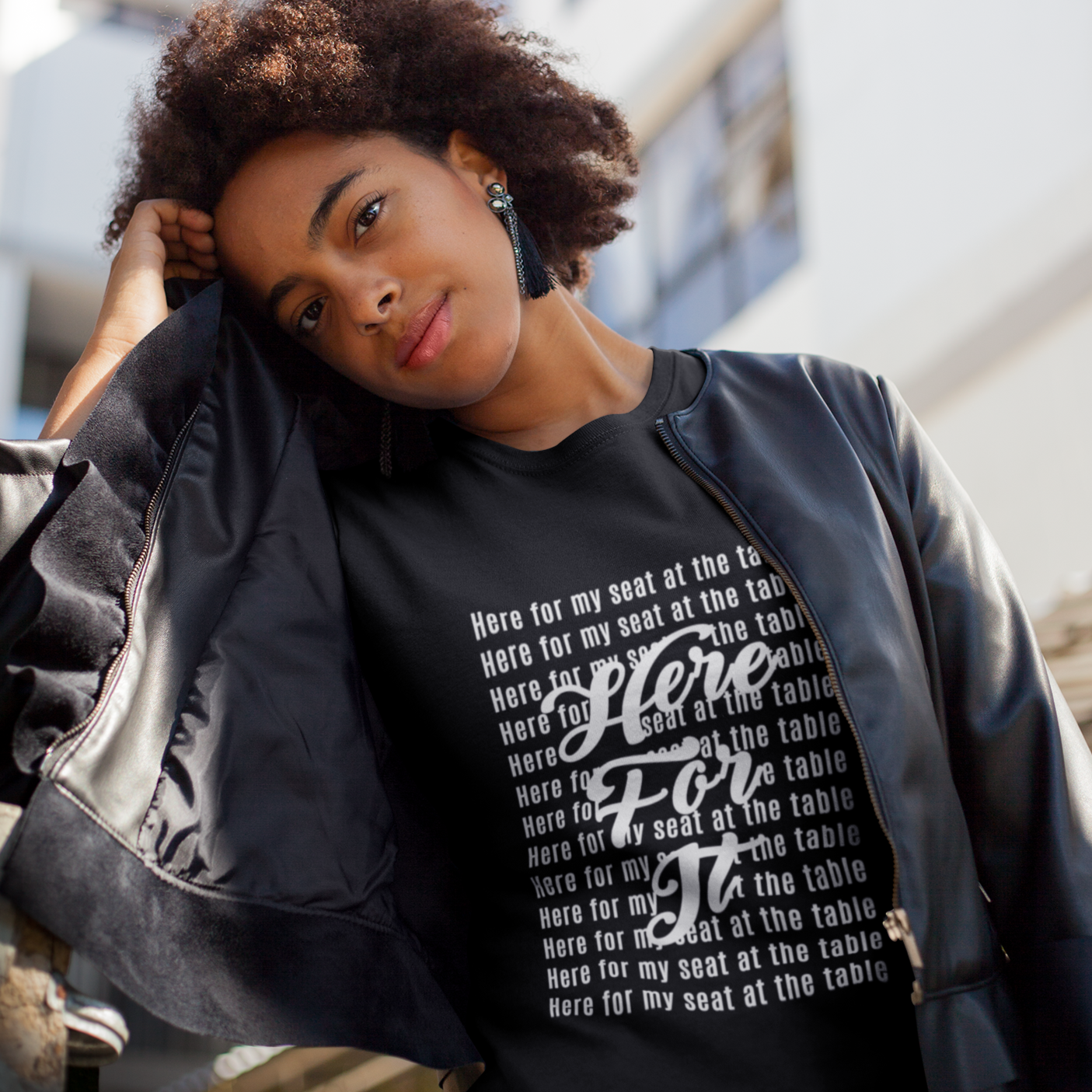 Here for my seat at the table Women's Softstyle Tee