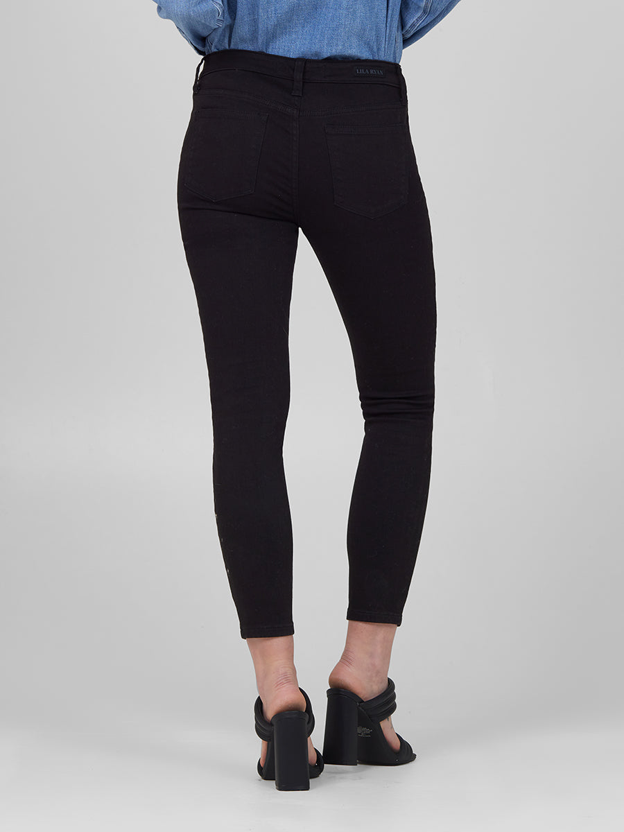 Womens Black Louise Skinny Crop 6