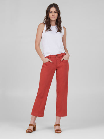 Womens Burnt Brick Alex Wide Leg Cropped w/ Angled Pockets 2