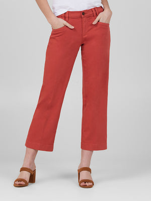 Womens Burnt Brick Alex Wide Leg Cropped w/ Angled Pockets