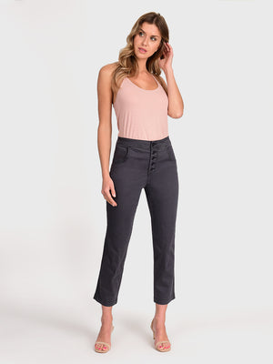 Womens Meteorite Jess Button Front High-Rise Straight Leg Chino 2