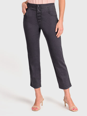 Womens Meteorite Jess Button Front High-Rise Straight Leg Chino