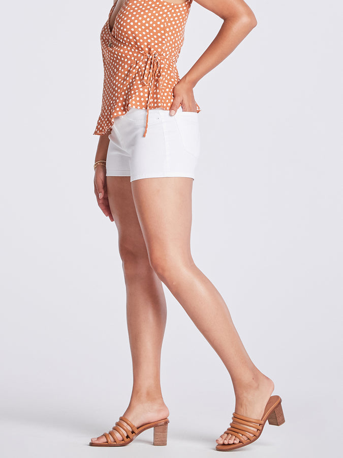 Womens White Tegan Clean Hem Short
