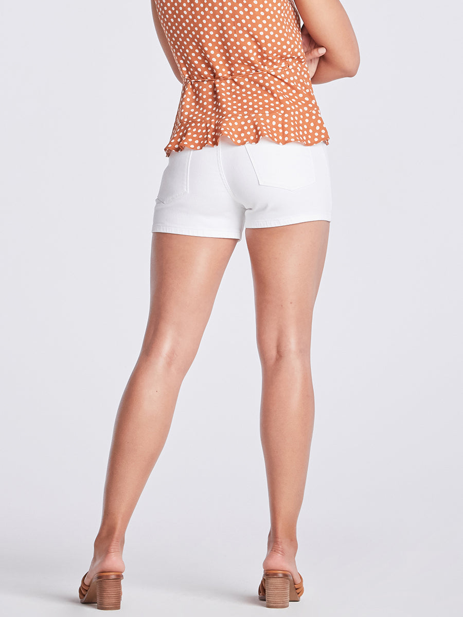 Womens White Tegan Clean Hem Short 4