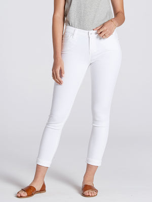 Womens White Dorianna Mid-Rise Cropped Skinny w/ Cuff 4
