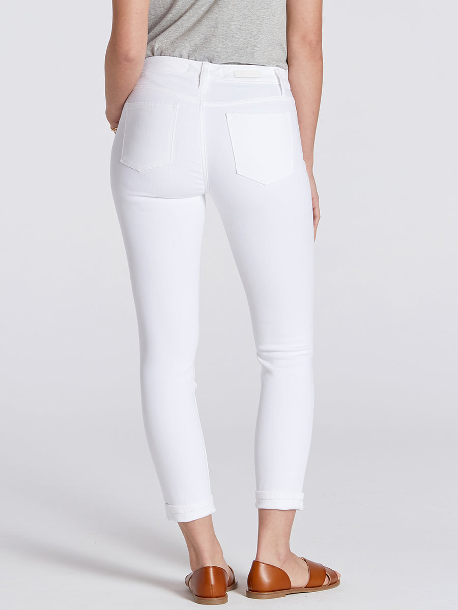 Womens White Dorianna Mid-Rise Cropped Skinny w/ Cuff 6