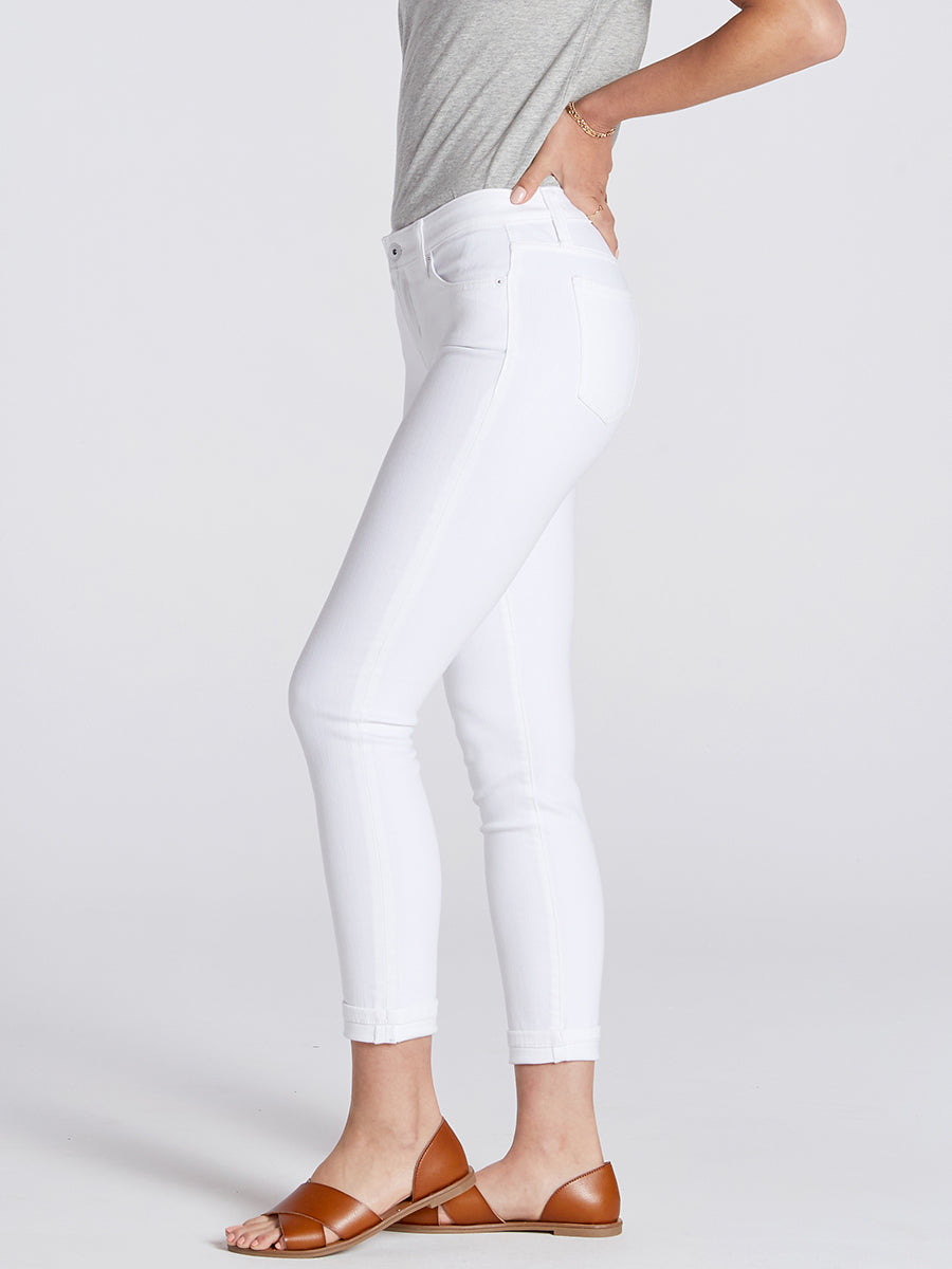 Womens White Dorianna Mid-Rise Cropped Skinny w/ Cuff