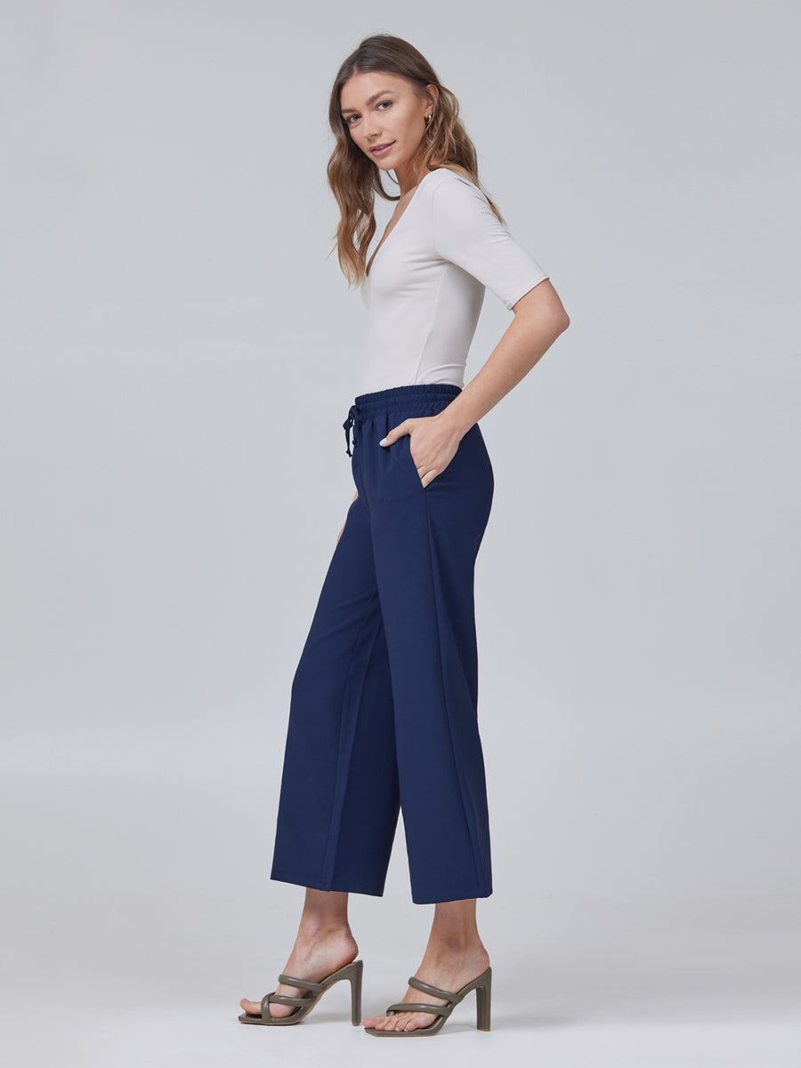 Jules Drawstring Pull-On Wide Leg Crop