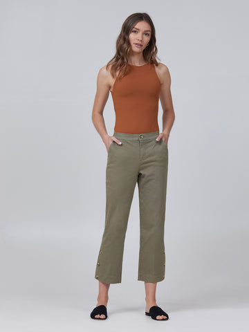 Melanie High-Rise Cropped Straight w/ Button Placket