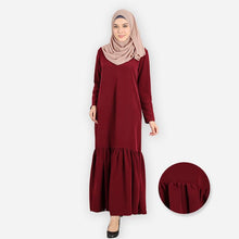 Load image into Gallery viewer, Rumaisa Curvy Premium Jubah (dark red)